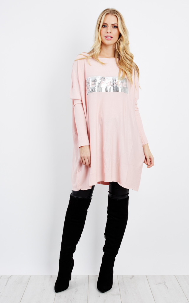MARY – Sequin Pink Oversized Jumper by Blue Vanilla