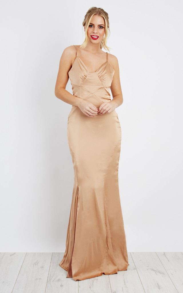 Silkly Satin strap maxi Dress in Gold by D.Anna