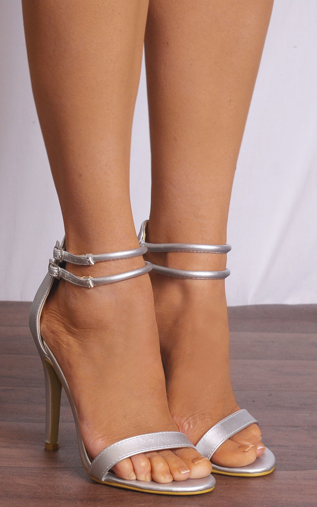 Silver Metallic Barely There Peep Toes Strappy Sandals High Heels by Shoe Closet