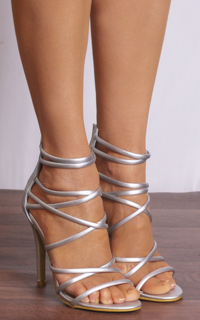 Silver Metallic Strappy Sandals High Heels Peep Toes by Shoe Closet