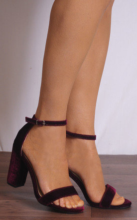 Burgundy Velvet Barely There Ankle Strap Strappy Sandals High Heels by Shoe Closet