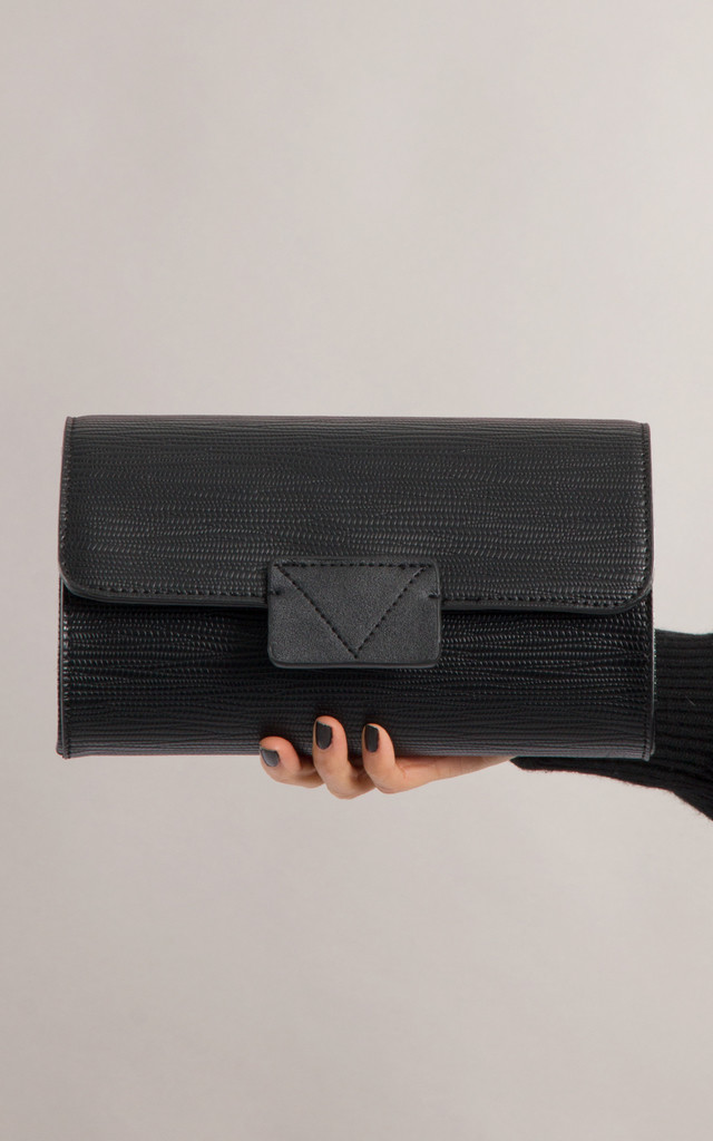 Danielle Faux Leather Foldover Clutch In Black by KoKo Couture