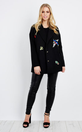 Liquorish Loose Fit Blazer With Embroidered Badges by Liquorish