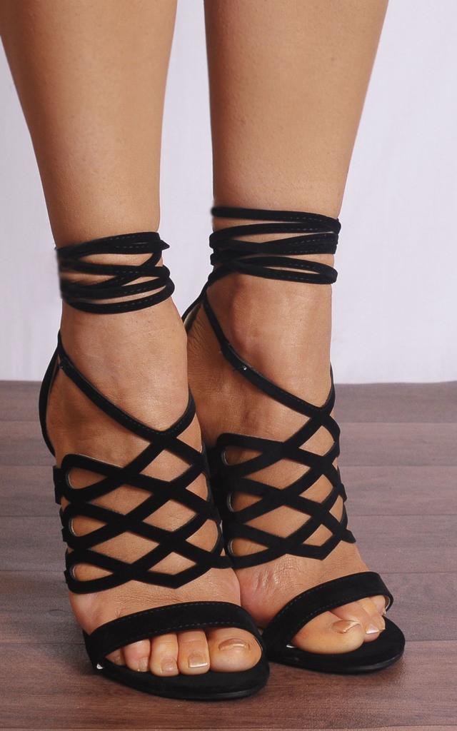 Black Faux Suede Lace Ups Strappy Sandals Peep Toes High Heels by Shoe Closet