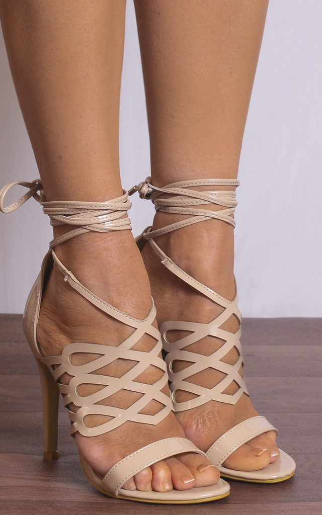 Nude Patent Lace Ups Strappy Sandals Peep Toes High Heels by Shoe Closet