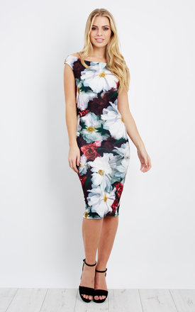 Off Shoulder Flower Print Bodycon by Npire London