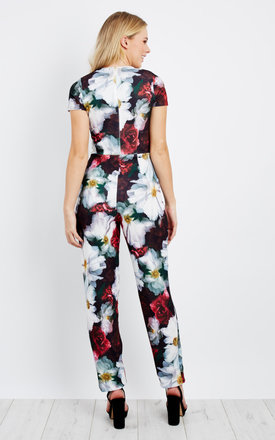 Cap Sleeve Black Flower Print Jumpsuit by Npire London