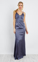 Silkly Satin strap maxi Dress in dark Grey by D.Anna