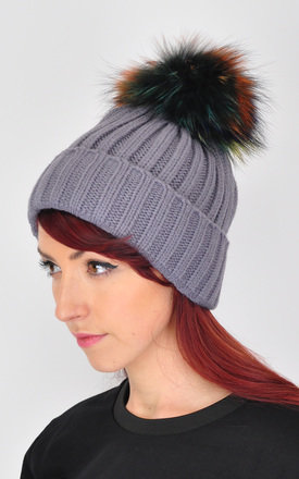 TIE DYE FUR POM POM BEANIE WINTER HATS by GOLDKID LONDON