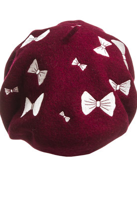 Burgundy Bow French Beret by Beauxoxo