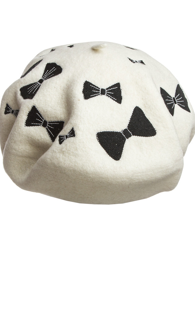 White and Black Bow French Beret by Beauxoxo