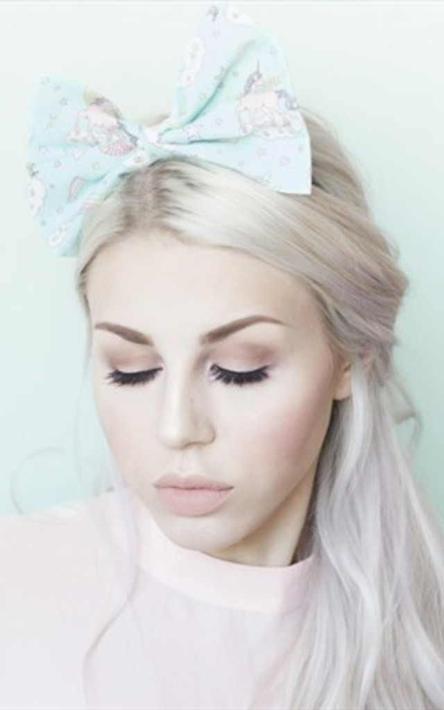 Blue Pastel Unicorn and Rainbows Oversized Bow Headband by LULU IN THE SKY