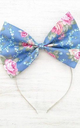 Blue Floral Oversized Bow Headband by LULU IN THE SKY