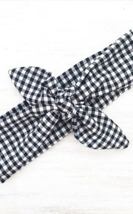 Black And White Gingham Hair Tie - Headband by LULU IN THE SKY
