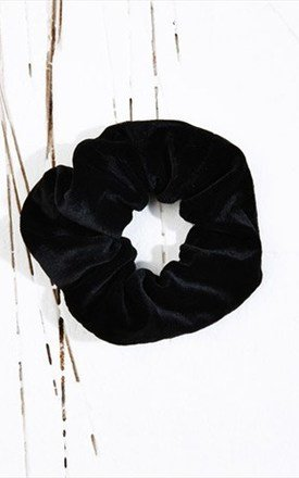 90s Black Velvet Scrunchie - Hair Tie by LULU IN THE SKY