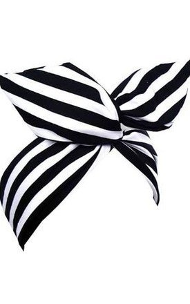 Black And White Stripe Monochrome Wire Headband - Dolly Bow by LULU IN THE SKY
