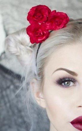 COCO Red Rose Flower Cat Ear Headband by LULU IN THE SKY