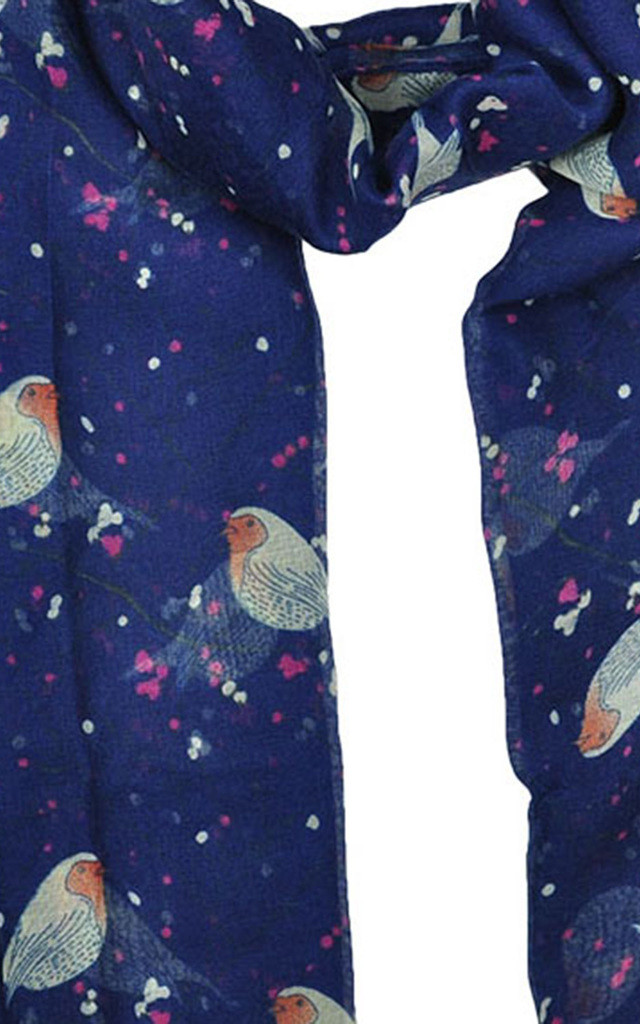 Lightweight Scarf in Navy Blue Robin Print by GOLDKID LONDON
