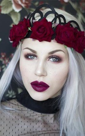 Red Rose Gothic Black Flower Crown by LULU IN THE SKY