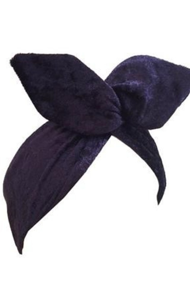 Midnight Blue Velvet  Dolly Bow Wire Headband by LULU IN THE SKY