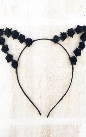 Black Flower Cat Ears Headband by LULU IN THE SKY
