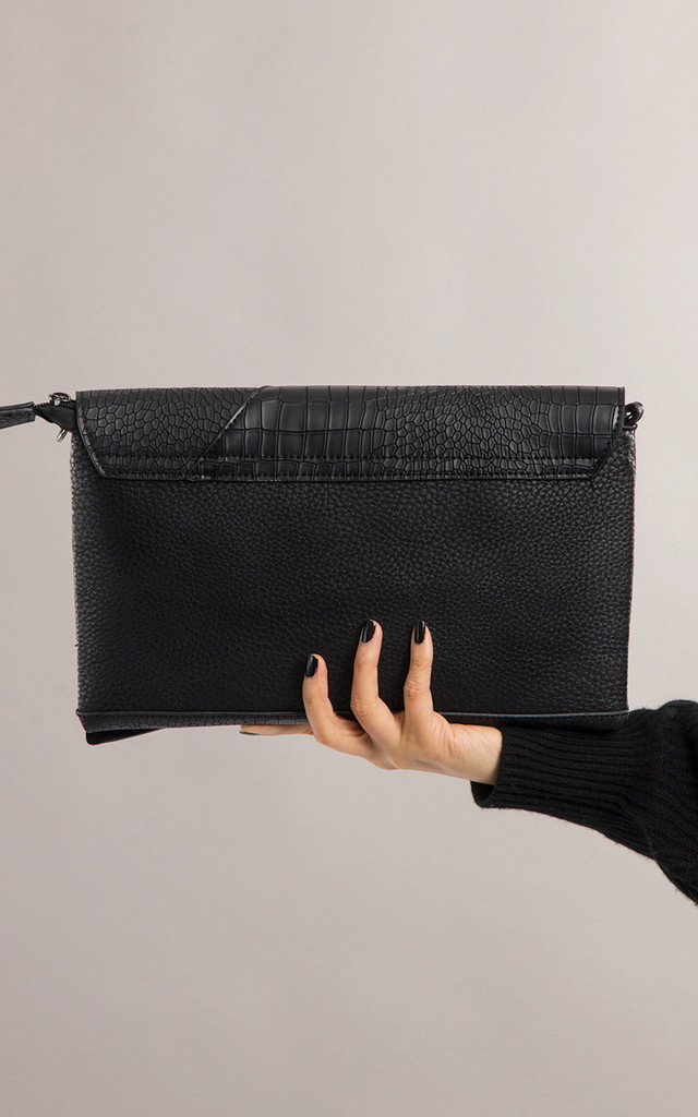 Lori Faux Leather And Snakeskin Clutch In Black by KoKo Couture