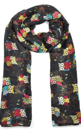 Lightweight Scarf in Black Owl Print by GOLDKID LONDON