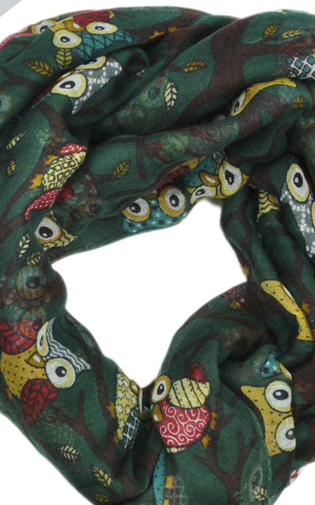 Lightweight Scarf in Green Owl Print by GOLDKID LONDON