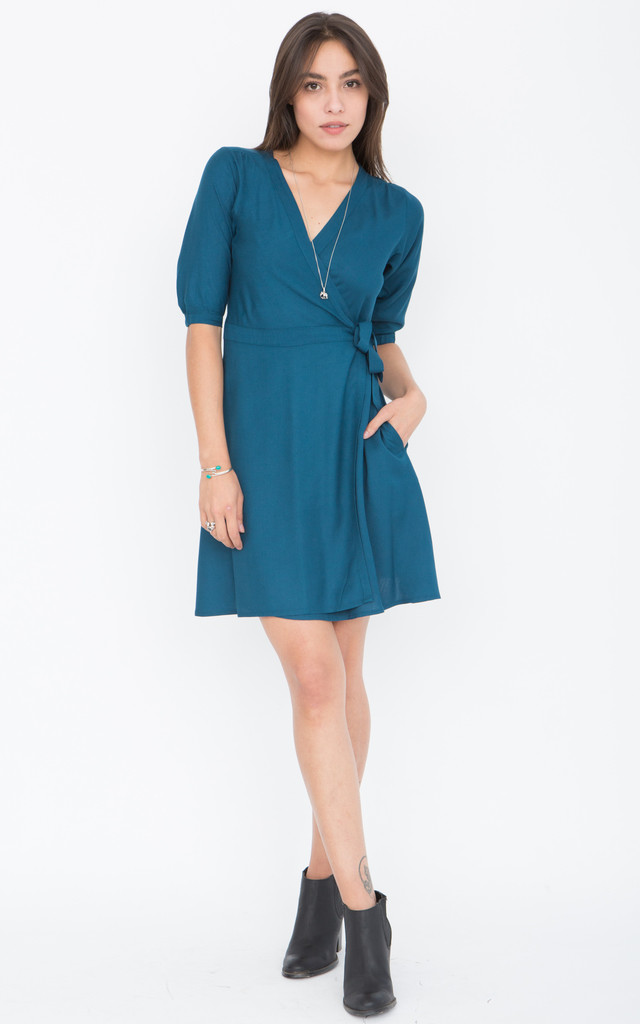 V-Neck Teal Wrap Dress with 3/4 Sleeves by likemary