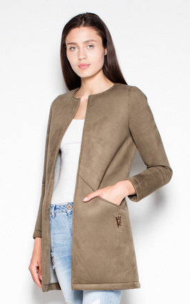 Olive Foam coat without fastening by Venaton