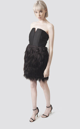 Fur Panelled Black Strapless Dress by Moth Clothing