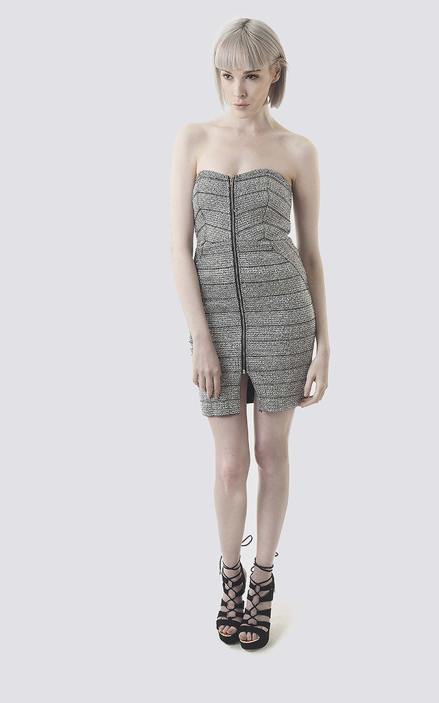 Silver Metallic Strapless Bodycon Dress by Moth Clothing