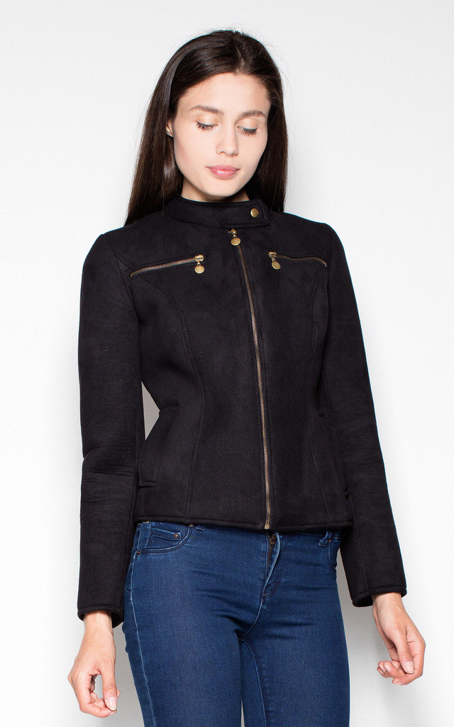 Black Quilted jacket by Venaton
