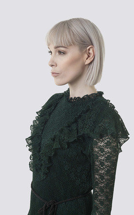Green Long Sleeve Lace Ruffle Dress with Black Tassel Belt by Moth Clothing