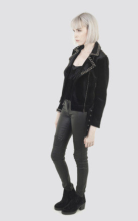 Black Velvet Studded Biker Jacket by Moth Clothing
