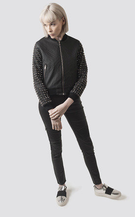 Spiked Black PU Leather Baseball Jacket by Moth Clothing