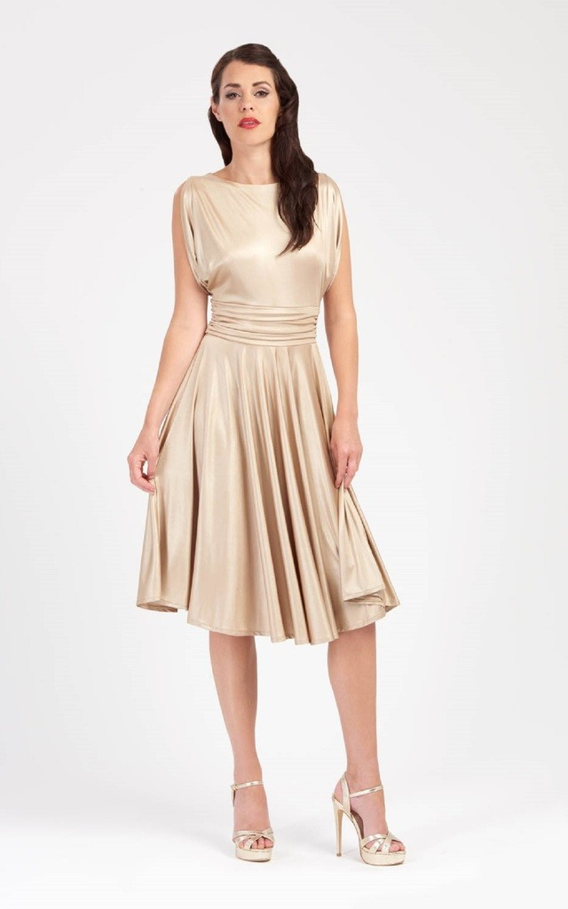 Rita - Draped Sleeve Gold Dress by Zoe Vine