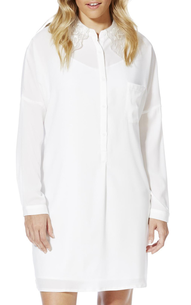Detailed Collared Shirt Dress in White by Cutie London