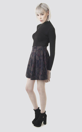 Dark Floral Printed Suede Skirt by Moth Clothing