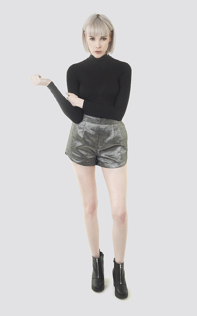 Silver Metallic Shorts by Moth Clothing
