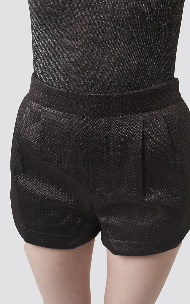 Black Metallic Shorts by Moth Clothing