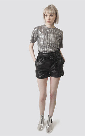 High Waited Faux Leather Paper Bag Shorts by Moth Clothing
