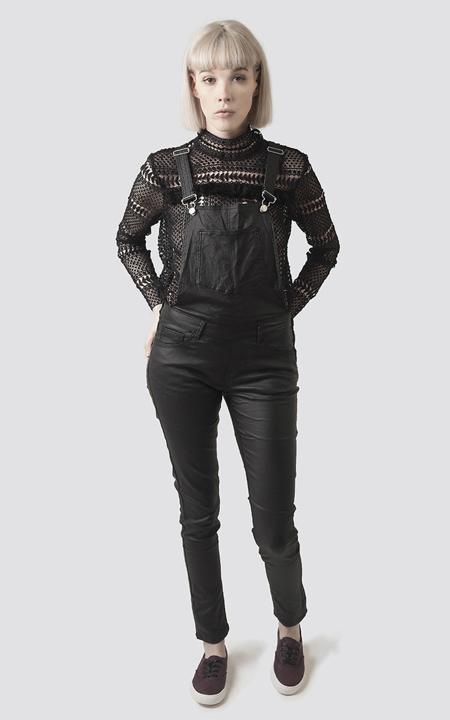 Black Faux Leather Dungarees by Moth Clothing