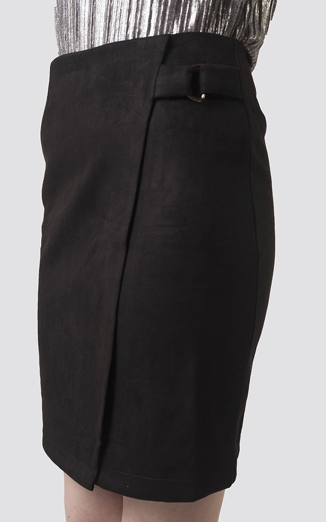 Black Suede Buckle Midi Skirt by Moth Clothing