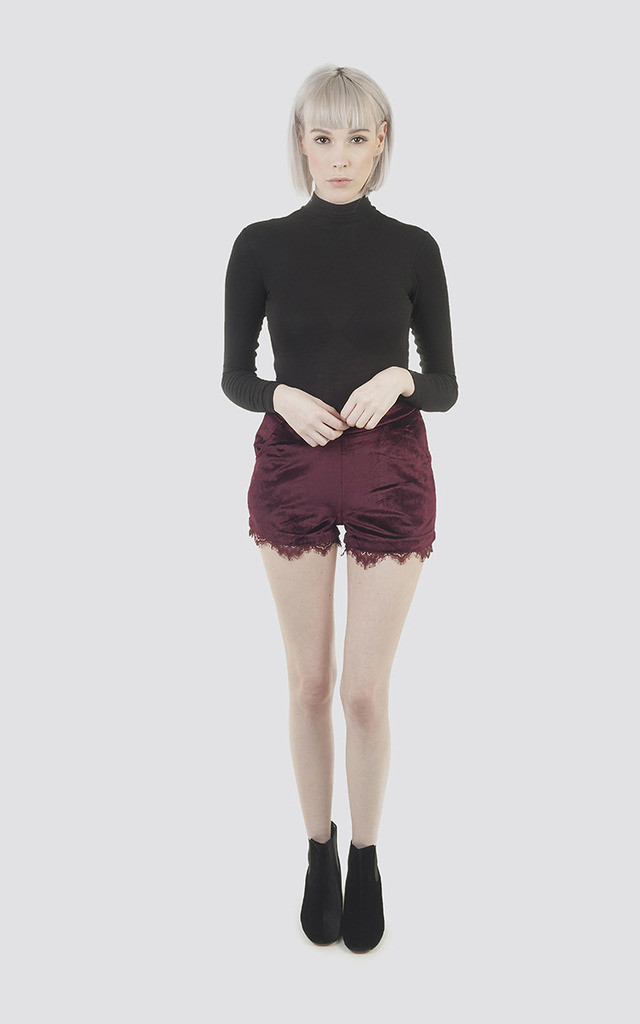 Burgundy Velvet Shorts with  Lace Trim by Moth Clothing