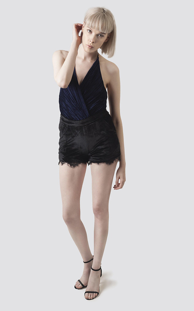 Black Velvet Shorts with  Lace Trim by Moth Clothing