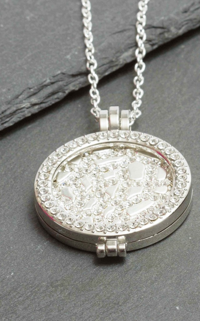 Silver Pave Coin Necklace by LHG Designs