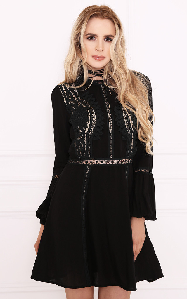 ASHLA Black Boho High Neck Skater Dress by Dolly Rocka