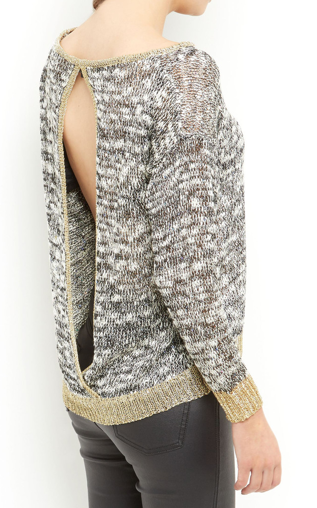 Knitted Trim Jumper by Cutie London