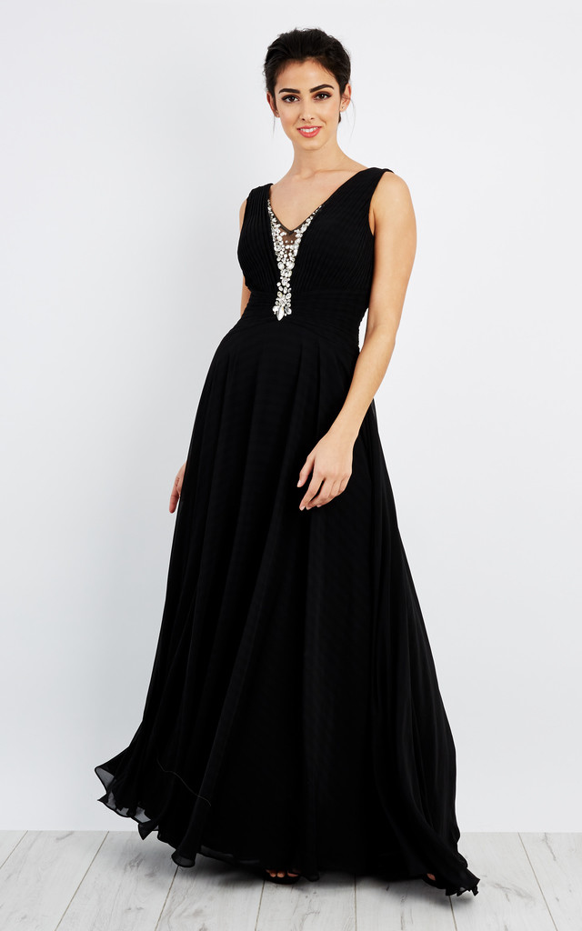 Diamante embellished neck line pleated maxi dress by D.Anna